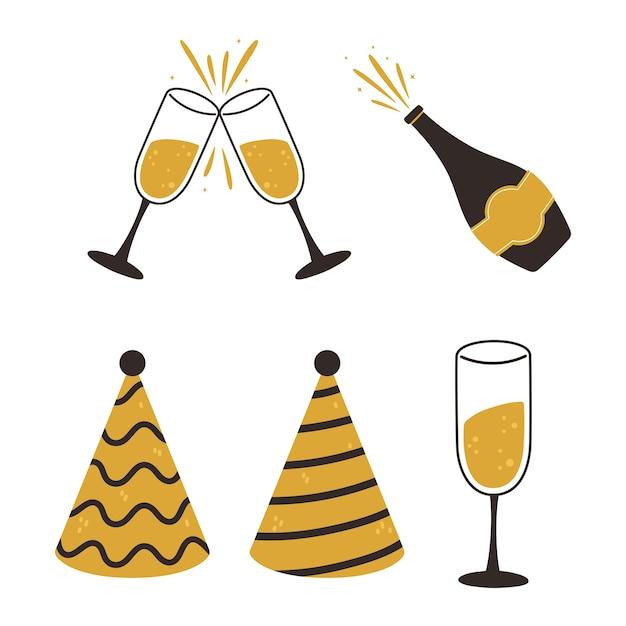 Feliz ano novo, ilustração vetorial de ícones de copos e garrafa de champanhe para chapéus de festa