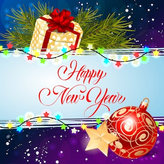Feliz ano novo inscrição com luzes