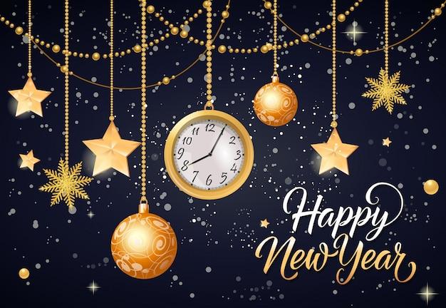Feliz ano novo inscrição com relógio