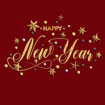 Feliz ano novo inscrição decorada com estrelas de ouro