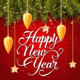 Feliz ano novo inscrição e guirlandas
