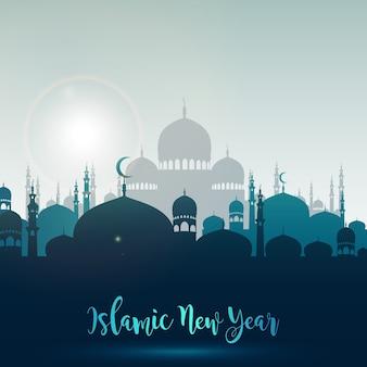 Feliz ano novo islâmico com mesquita de silhueta
