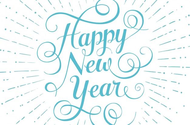 Feliz ano novo letras azuis para cartão