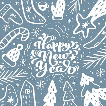 Feliz ano novo letras caligráficas mão escrito texto. cartão de natal