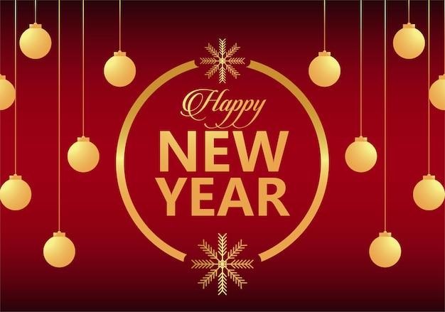 Feliz ano novo letras cartão dourado com bolas douradas em ilustração de moldura circular
