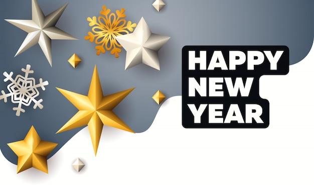 Feliz ano novo letras com estrelas douradas e flocos de neve