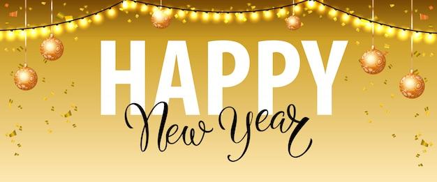 Feliz ano novo letras com luzes de guirlanda e bugigangas