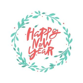 Feliz ano novo letras de escova em guirlanda floral.
