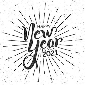 Feliz ano novo letras de mão em estilo retro preto e branco.