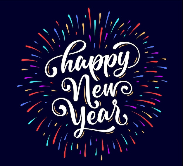 Feliz ano novo. letras de texto