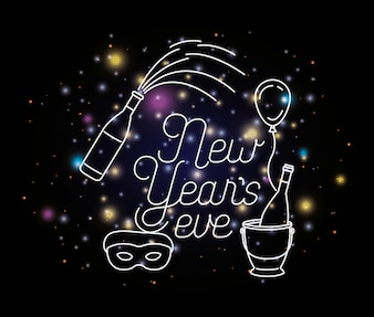 Feliz ano novo lettering com luzes e ícones