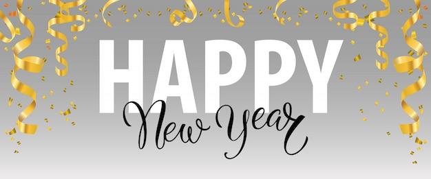 Feliz ano novo lettering com serpentinas de ouro