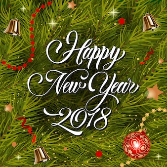Feliz ano novo lettering e bauble