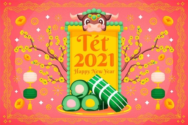 Feliz ano novo lunar vietnamita com bolo tet
