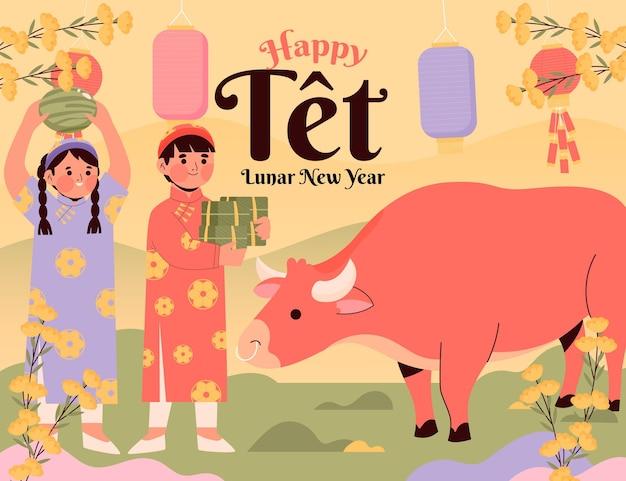 Feliz ano novo lunar vietnamita desenhado à mão