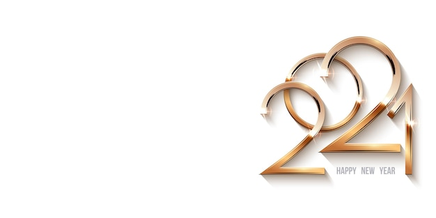 Feliz ano novo modelo 2021, ouro brilhante números em luz com brilhos.