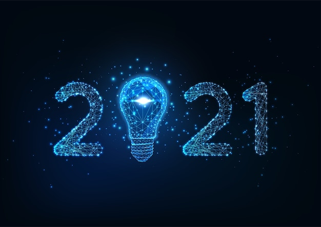 Feliz ano novo modelo de banner digital da web com número poligonal baixo brilhante futurista e lâmpada sobre fundo azul escuro.