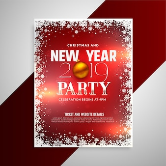 Feliz ano novo modelo de design de folheto de festa