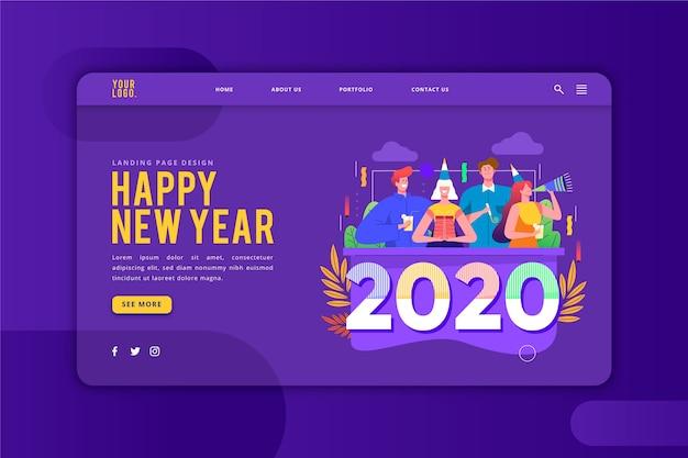 Feliz ano novo modelo de página de destino