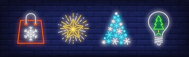 Feliz ano novo na coleção estilo neon