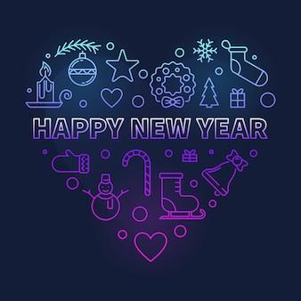 Feliz ano novo na ilustração do coração