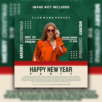 Feliz ano novo nas mídias sociais, postar o design do modelo de banner do instagram