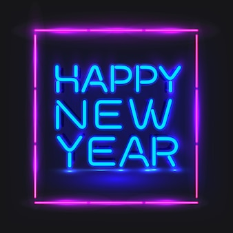 Feliz ano novo néon azul.