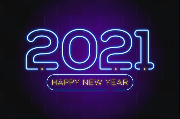 Feliz ano novo neon texto premium