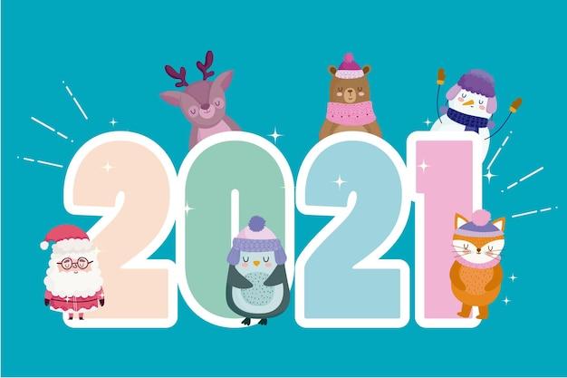 Feliz ano novo número 2021 e papai noel com animais fofos