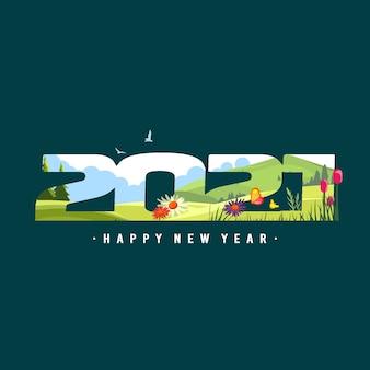 Feliz ano novo número 2021 ilustração