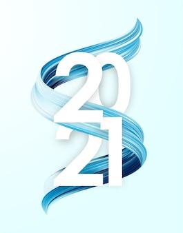 Feliz ano novo. número de 2021 com forma de traço de tinta azul. design moderno