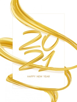 Feliz ano novo. número de 2021 com forma de traço de tinta trançada abstrata colorida de ouro. design moderno