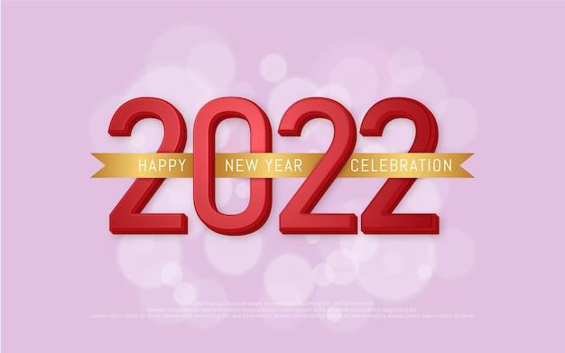 Feliz ano novo, número de texto editável com uma fita dourada ao redor do número