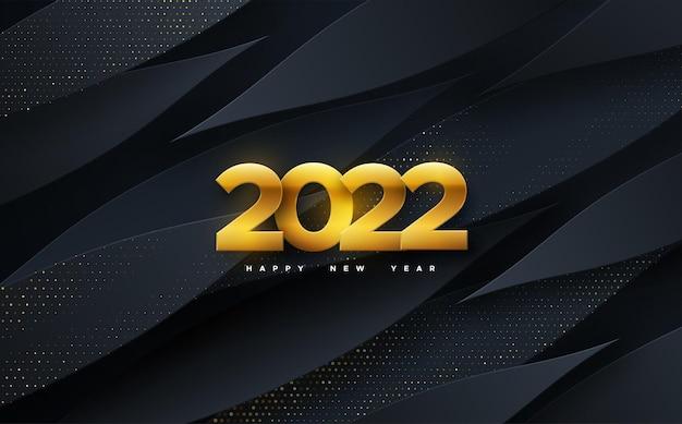 Feliz ano novo, números dourados de 2022 em fundo preto geométrico