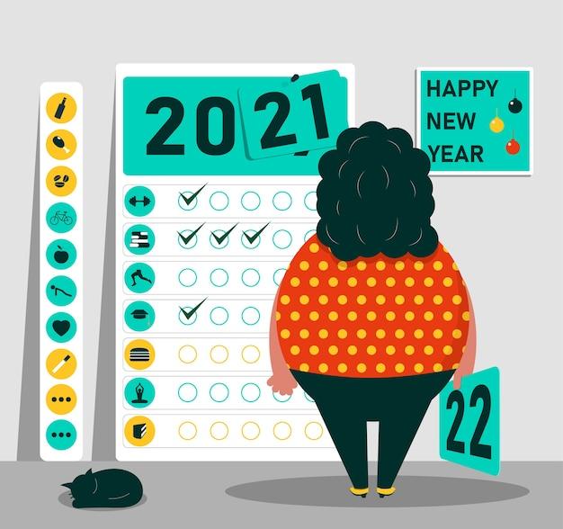 Feliz ano novo o conceito de ideias para o desenvolvimento e estilo de vida saudável no ano novo