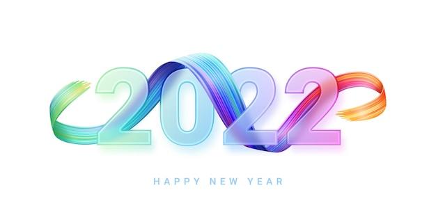 Feliz ano novo, os números de vidro gradiente transparente desfocam o vidro de pincelada multicolorida