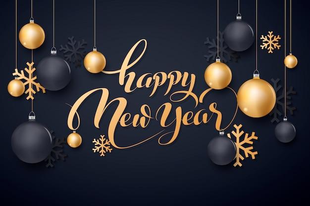Feliz ano novo ouro e preto collors lugar para bolas de natal de texto 2020