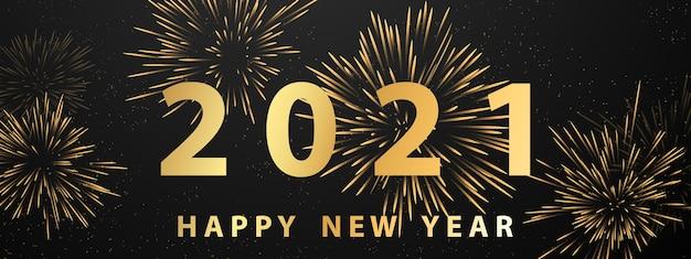 Feliz ano novo ouro, fogos de artifício e banner de festa de celebração com tema de natal