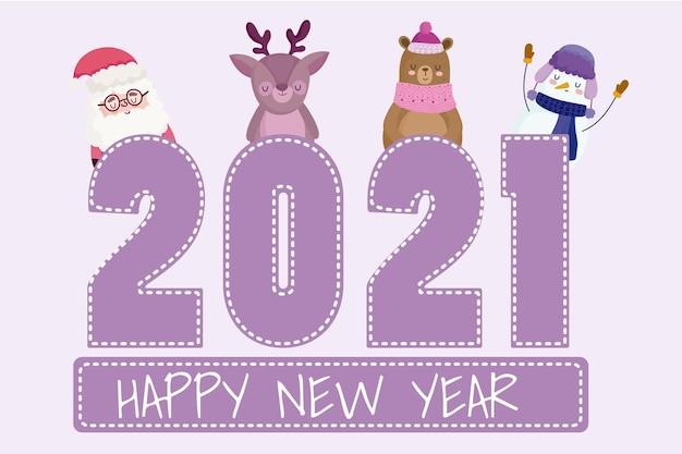 Feliz ano novo papai noel boneco de neve fofo rena pinguim número e palavras
