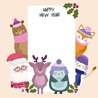 Feliz ano novo papai noel urso raposa rena pinguim e boneco de neve cartão comemorativo