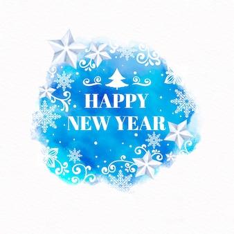 Feliz ano novo papel de parede em aquarela