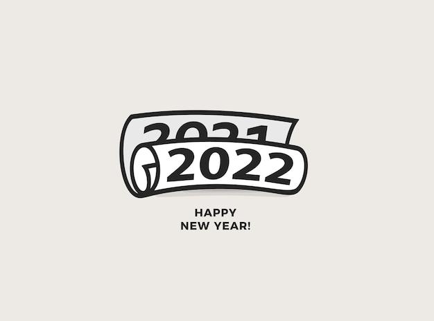 Feliz ano novo para nmbers roll ícone de jornal folheto cartão de felicitações ou capa criativa de calendário