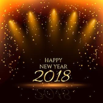 Feliz ano novo partido de fundo com confetes de ouro