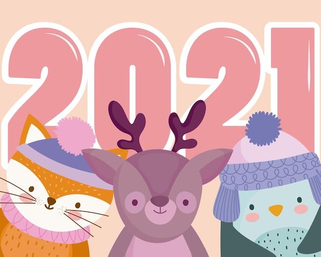 Feliz ano novo, pinguim rena e raposa com o número 2021