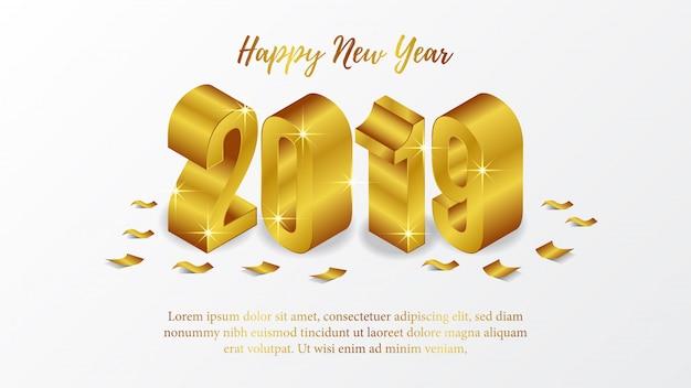 Feliz ano novo pôster com 3d ouro isométrico