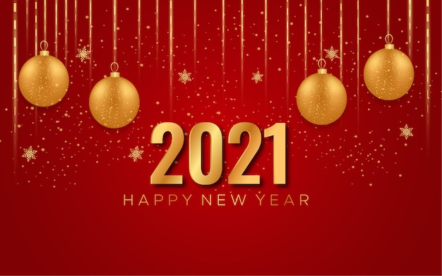 Feliz ano novo pôster vermelho com luzes de natal