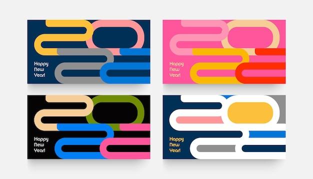 Feliz ano novo, pôsteres, modelos de cenografia com logotipo de tipografia e design criativo sazonal