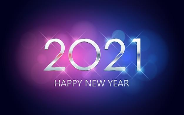 Feliz ano novo prateado com bokeh em azul neon e fundo de cor roxa