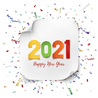 Feliz ano novo . projeto de papel abstrato colorido com fitas e confetes. modelo de cartão de saudação.