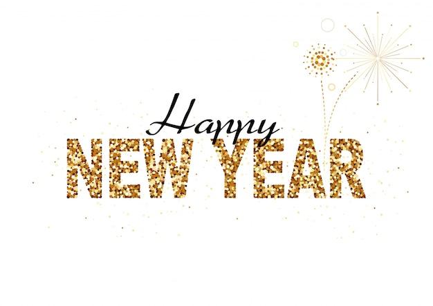 Feliz ano novo projeto do brilho do ouro